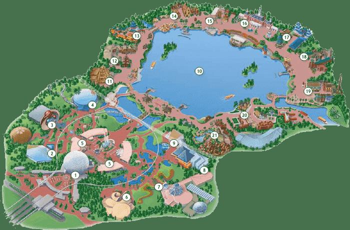 Como é dividido o parque Epcot na Disney em Orlando