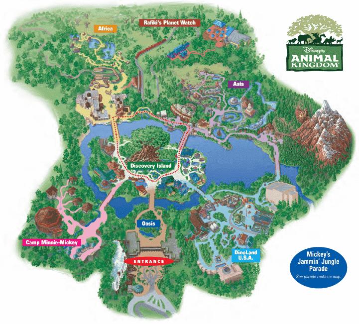 Mapa Parque Animal Kingdom na Disney em Orlando