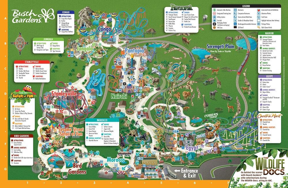 Mapa del parque Busch Gardens en Tampa