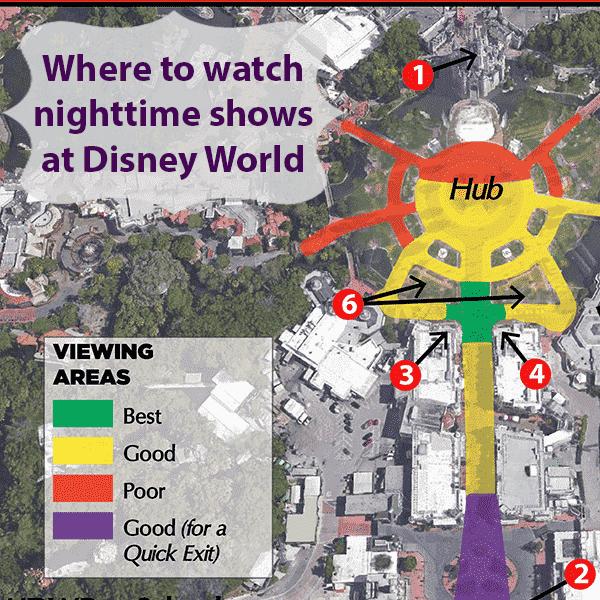 Mejores lugares para ver el espectáculo de fuegos artificiales de Magic Kingdom en Disney