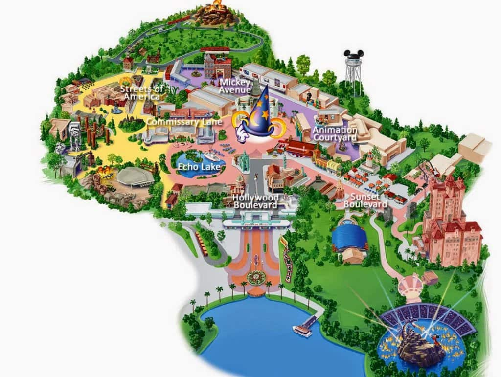 Mapa do Parque Disney Hollywood Studios em Orlando