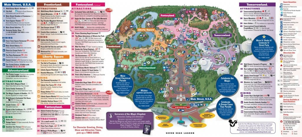 Mapa do Parque Disney Magic Kingdom em Orlando