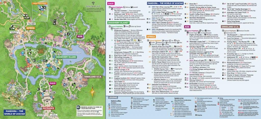 Mapa do Parque Disney Animal Kingdom em Orlando