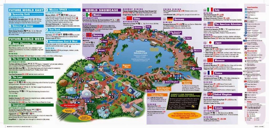 Mapa do Parque Epcot Center da Disney