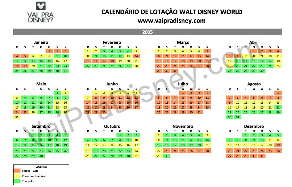 Calendário com tempo de espera e filas na Disney em 2015