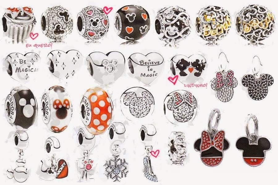 Berloques Pandora do Mickey e Minnie