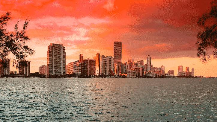 Vista de Miami no fim de tarde