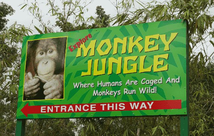 Entrada do Zoológico de macacos em Miami