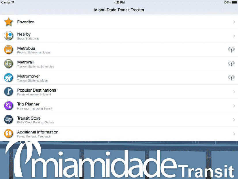 App Miami-Dade Transit Tracker em Miami