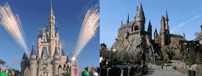 Castelo da Disney e da Universal