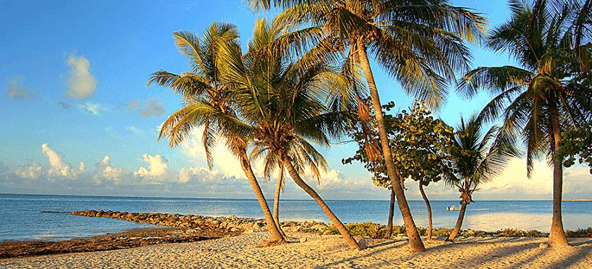 Praia em Key West em Miami