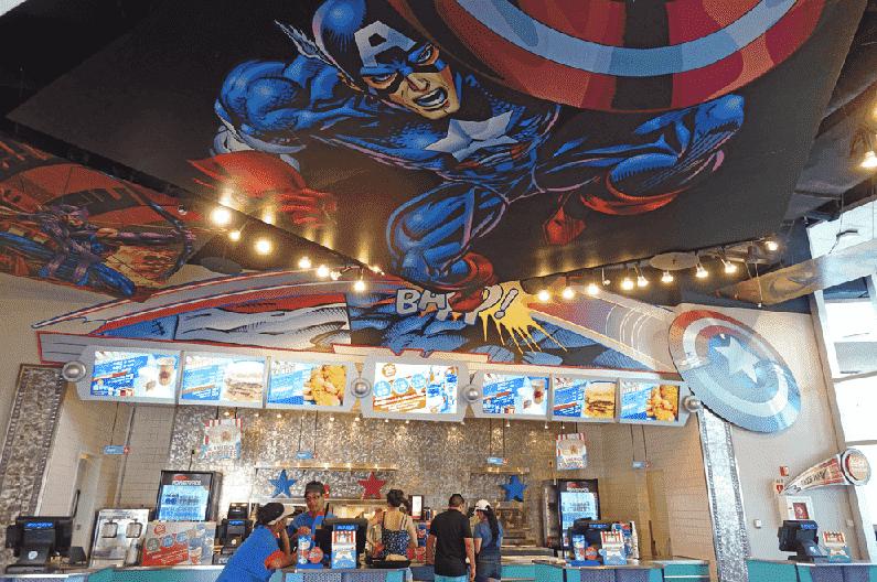 Restaurante Captain America Diner no Islands of Adventure em Orlando