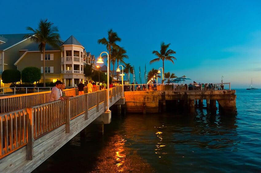 Por do sol na Mallory Square Key West em Miami