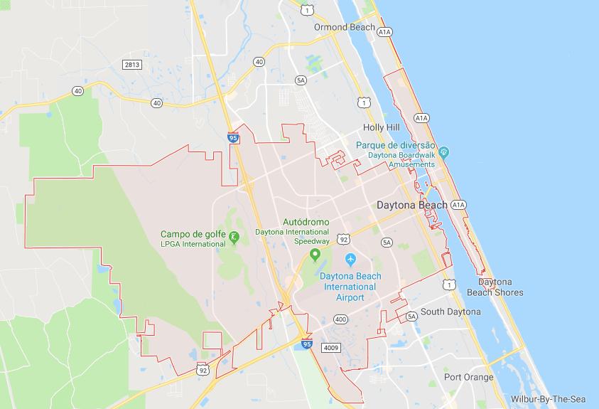 Onde ficar em Daytona Beach: mapa