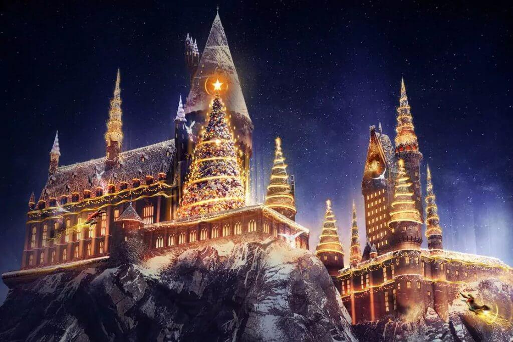 Natal do Harry Potter na Universal Orlando: Castelo do Harry Potter com projeção de natal