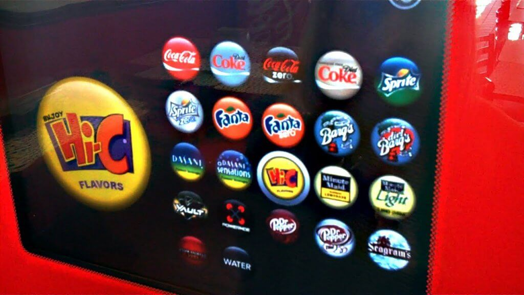 Sabores de refrigerante para refil do copo Coke Freestyle na Universal Orlando