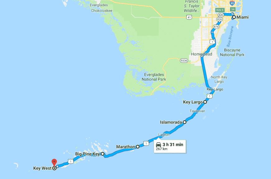 Mapa do roteiro pelas praias do sul da Flórida