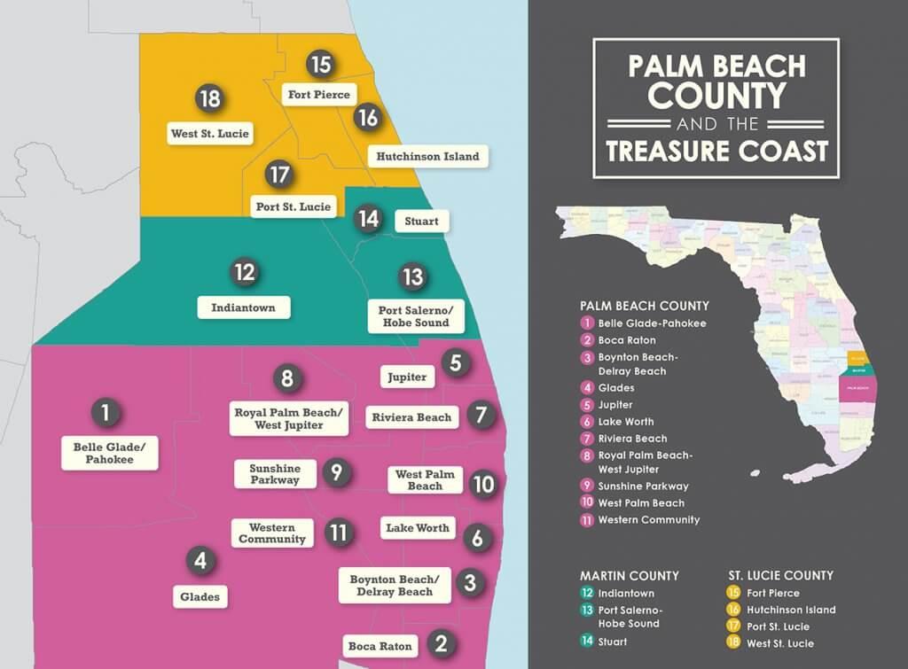 Mapa das praias e regiões de Palm Beach na Flórida