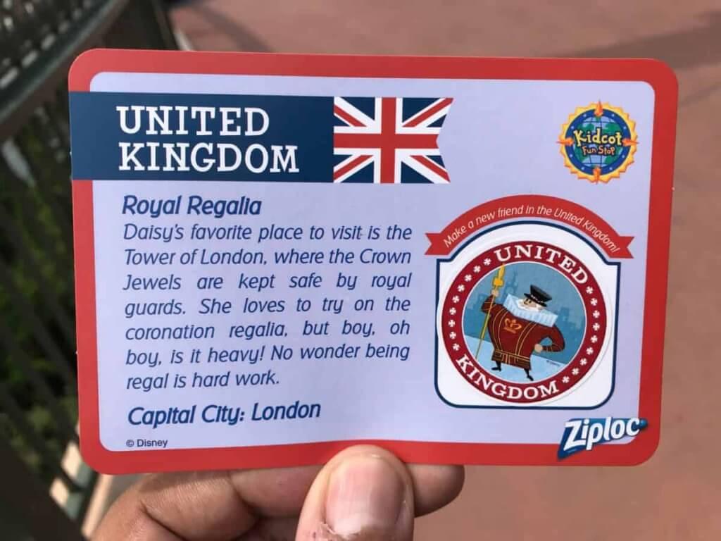 Cartões e adesivos dos países para colecionar no Disney Epcot: United Kingdom