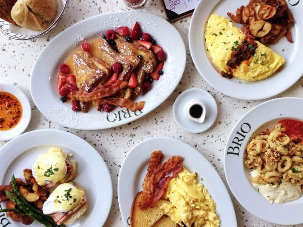 Pratos do restaurante italiano Brio em Orlando