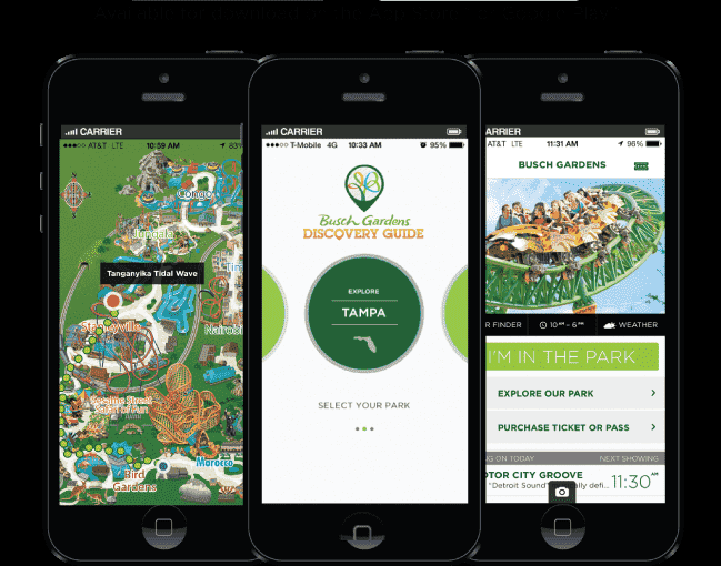 Aplicativo Busch Gardens em Orlando