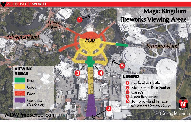 Mapa dos melhores lugares para ver o Disney Magic Kingdom - Happily Ever After