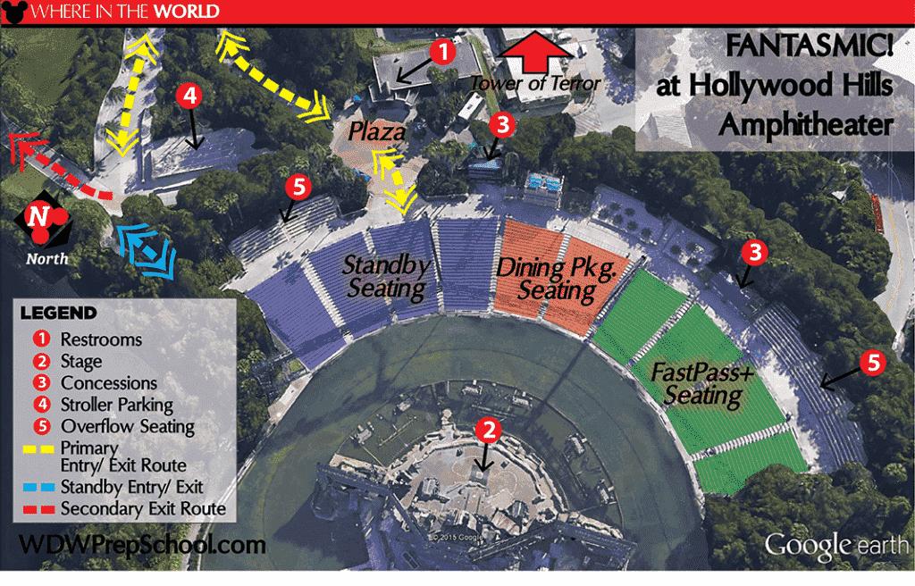 Mapa de melhores lugares para ver o Fantasmic