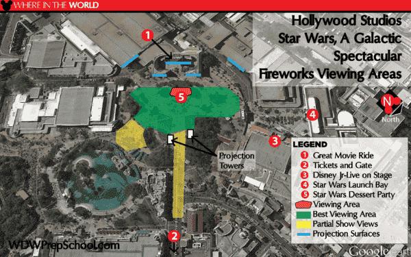 Mapa de melhores lugares para ver o show do Star Wars