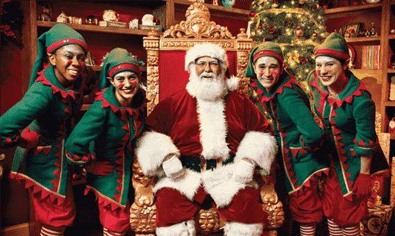 Noel e os duendes no Natal no Busch Gardens: Christmas Town