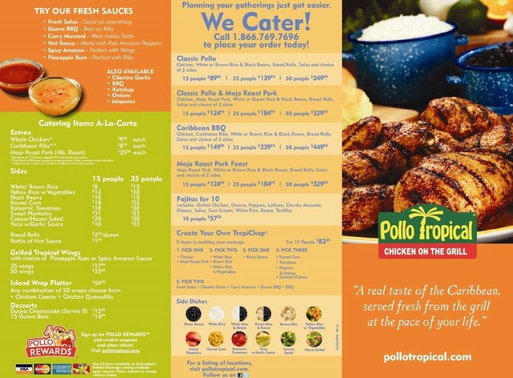 Menu do Restaurante brasileiro Pollo Tropical em Orlando