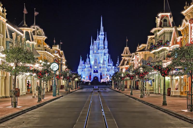 Main Street, no Magic Kingdom, à noite
