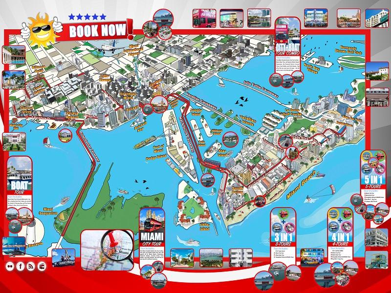 Mapa do passeio de ônibus por Miami