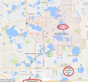Região de Winter Park no mapa da Flórida
