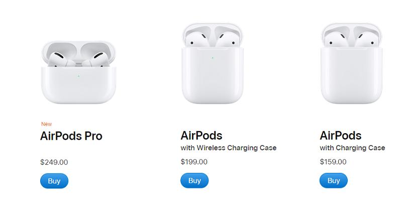 Preços dos diferentes modelos de AirPods
