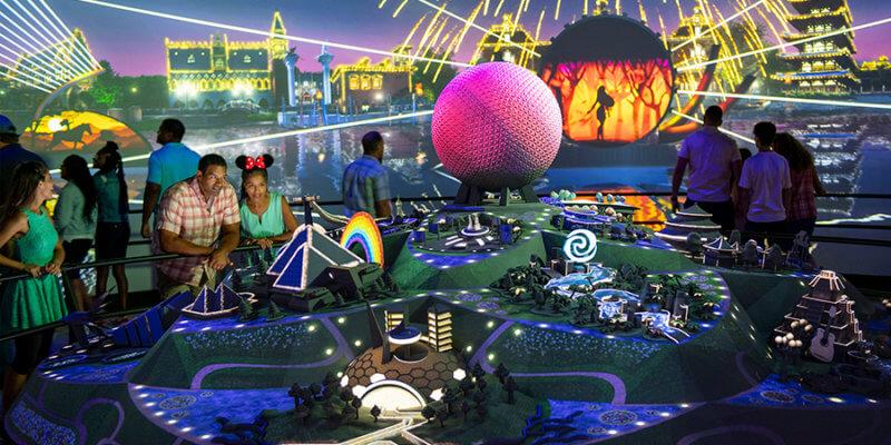 Projeção do Epcot Experience no parque Epcot da Disney Orlando
