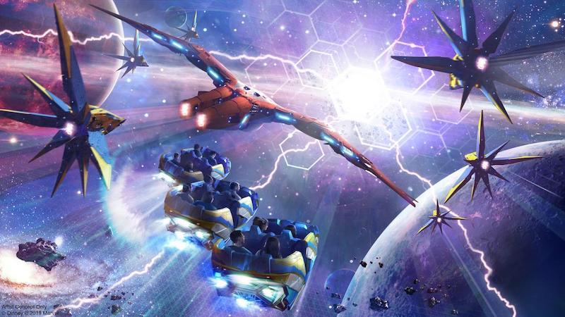 Arte da atração de Guardiões da Galáxia no Epcot da Disney Orlando