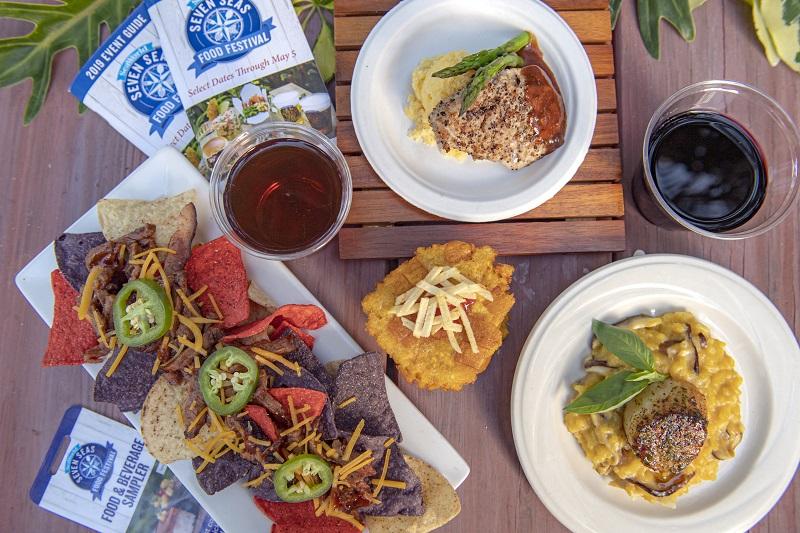 Pratos do Festival Seven Seas Food no SeaWorld Orlando