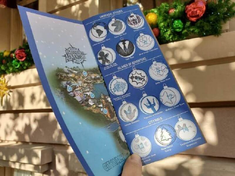 Mapa da caça ao tesouro de Natal na Universal Orlando
