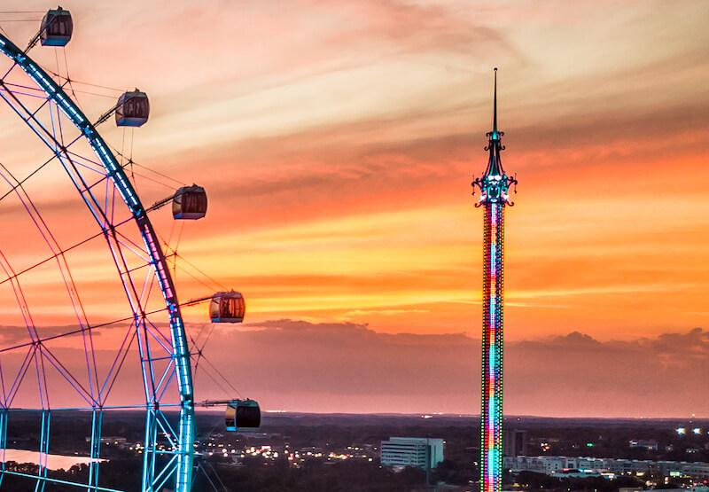 Orlando Gyro Drop Tower no ICON Park em Orlando