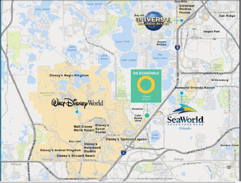 Localização do O-Town West em Orlando