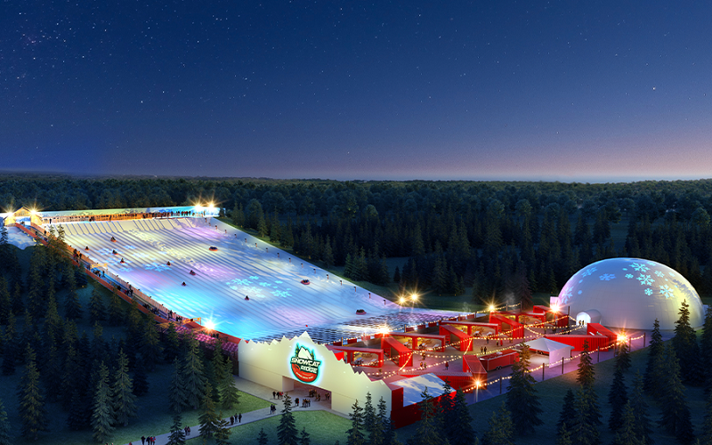 Noite no Snowcat Ridge, o novo parque da neve na Flórida